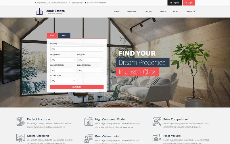 Dunk Dynamic Real Estate WordPress Teması