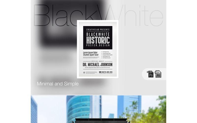 Cartel de evento en blanco y negro - Plantilla de identidad corporativa