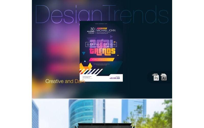 Cartel de evento oscuro de tendencias de diseño: plantilla de identidad corporativa