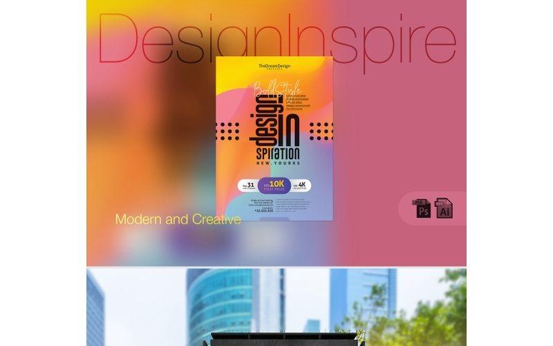 Cartel de evento tipográfico de inspiración de diseño: plantilla de identidad corporativa