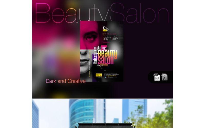 Folleto de salón de belleza oscuro - Plantilla de identidad corporativa