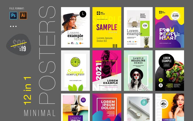 Paquete de diseño minimalista de póster y volante v2 - Plantilla de identidad corporativa