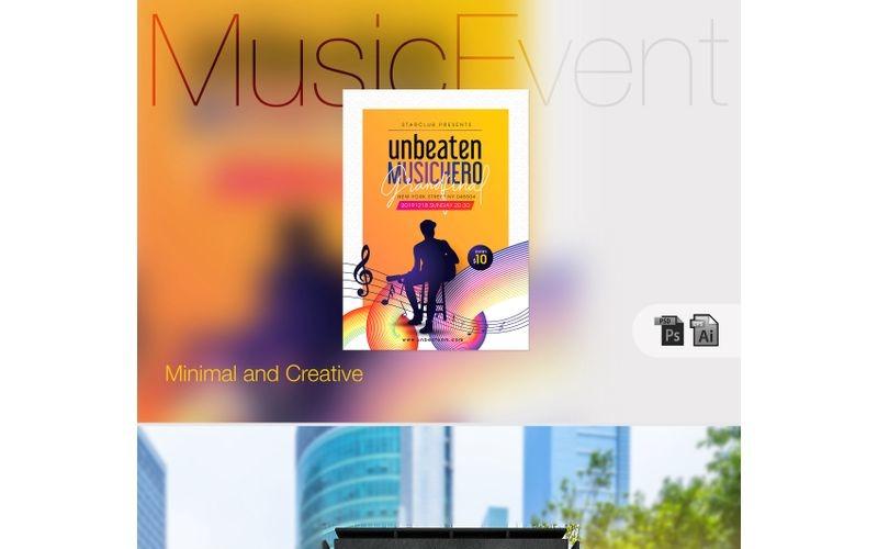 Póster de concursos y eventos musicales: plantilla de identidad corporativa