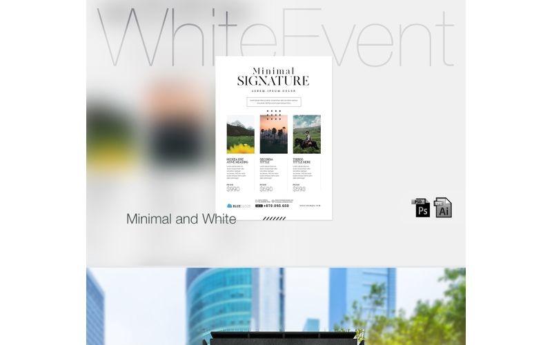 Póster de evento minimalista y blanco - Plantilla de identidad corporativa