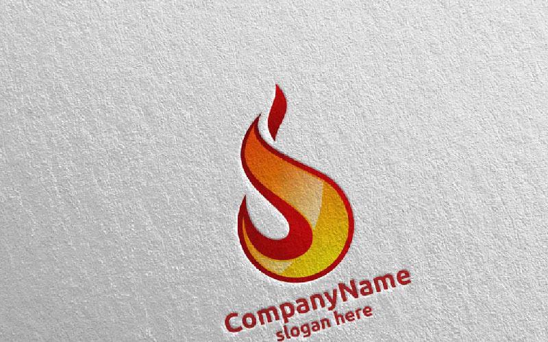 Шаблон логотипа 3D Fire Flame Element Design 6