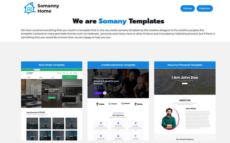 Somany - Plantilla de sitio web HTML5 multipropósito creativo