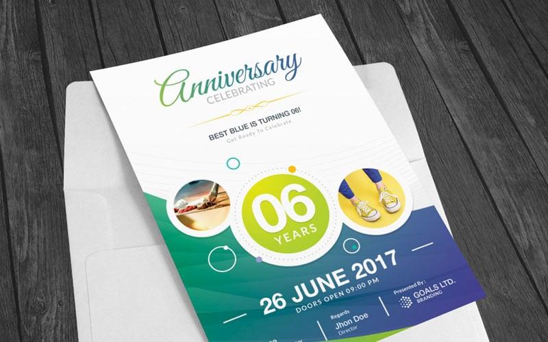 Invitación de aniversario de color azul - Plantilla de identidad corporativa