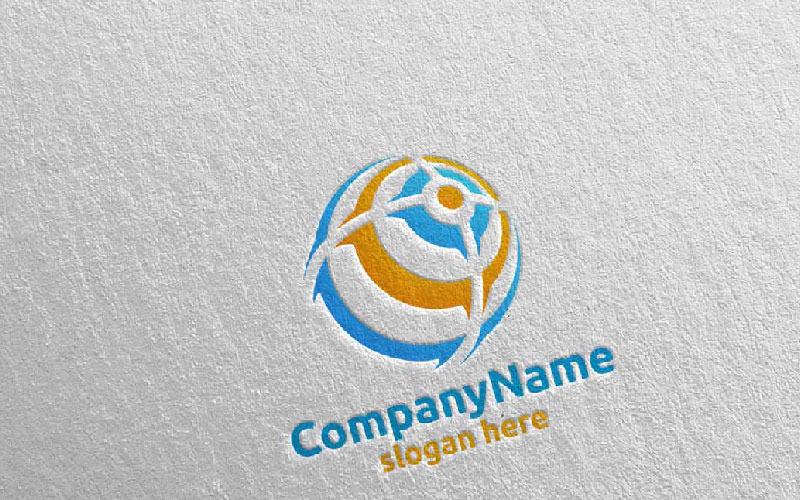 Plantilla de logotipo de diseño de tecnología moderna global 8