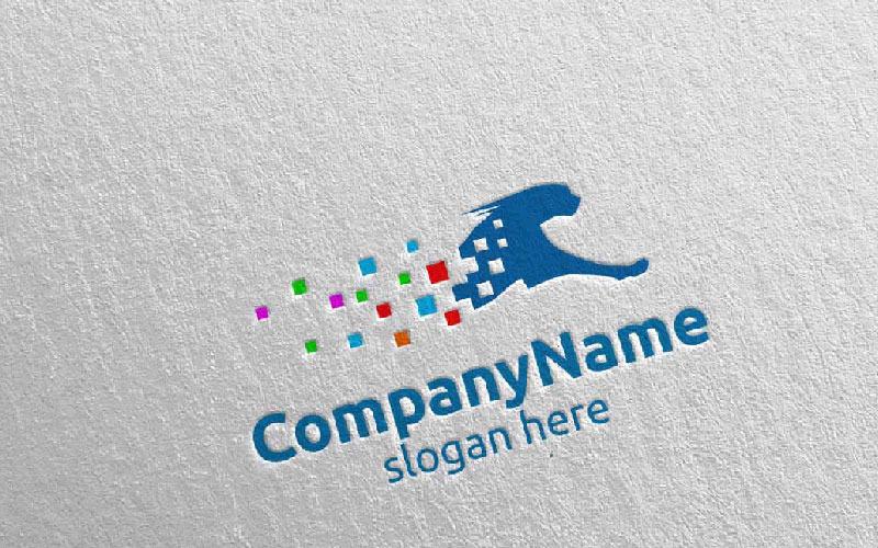 Acelere el marketing digital con la plantilla de logotipo del concepto de diseño de guepardo o tigre