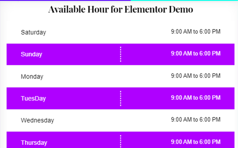 Available Hour Widget for Elementor WordPress Plugin