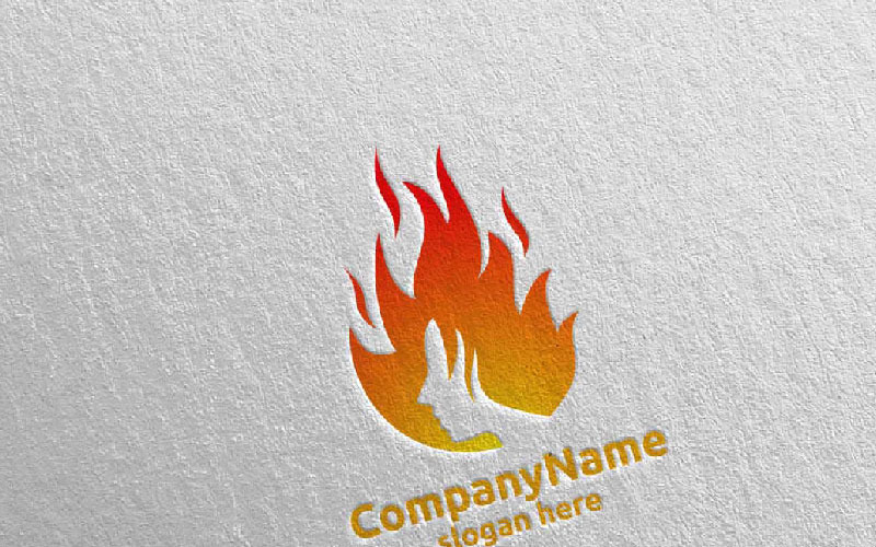 Eagle with Fire and Flame Concept Design 17 Plantilla de logotipo