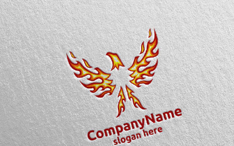 Eagle with Fire and Flame Concept Design 18 Logo Template