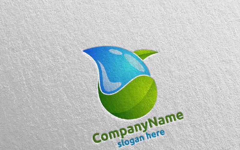 Plantilla de logotipo de diseño de gota de agua y limpieza