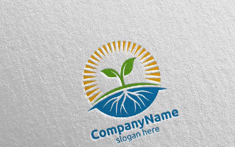Plantilla de logotipo de diseño de sol y hoja de árbol orgánico