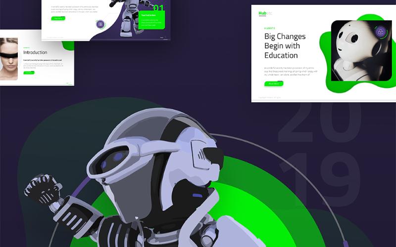 Plantilla de PowerPoint totalmente animada de presentación de tecnología Hubotc