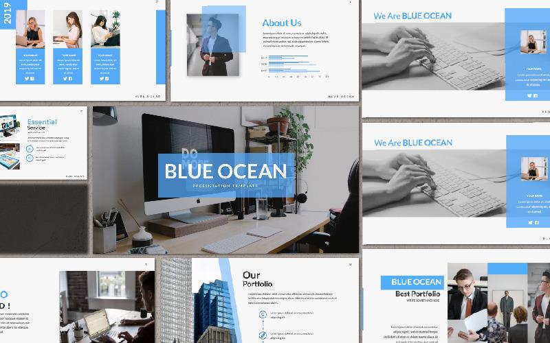 Plantilla de PowerPoint - presentación del océano azul