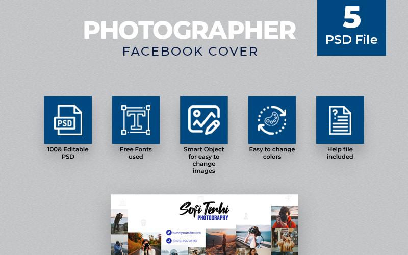 Fotógrafo 5 Plantilla de portada de Facebook para redes sociales