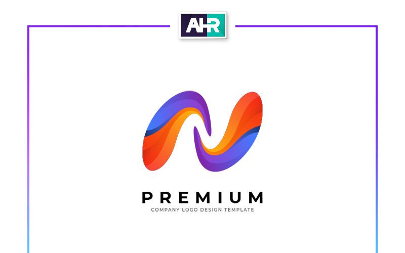 Plantilla de logotipo de diseño de letra N colorida
