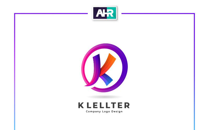 Шаблон логотипа дизайн красочные буквы K
