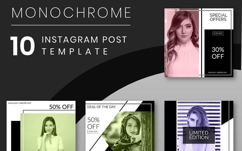 Monocromo - Plantilla de 10 publicaciones de Instagram para redes sociales