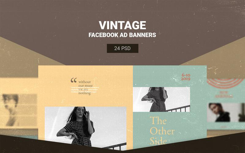 Plantilla de redes sociales de banners de anuncios de Facebook vintage