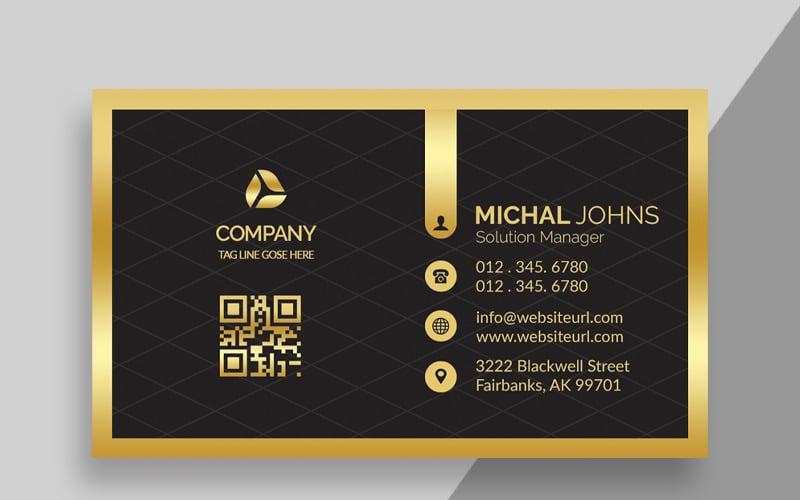 Tarjeta de visita dorada de lujo - Plantilla de identidad corporativa