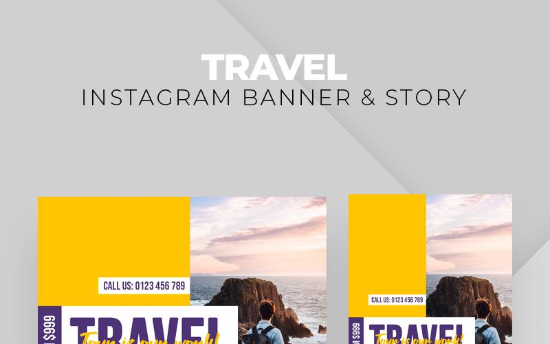 Travel Instagram Banner & Story Social Media Template