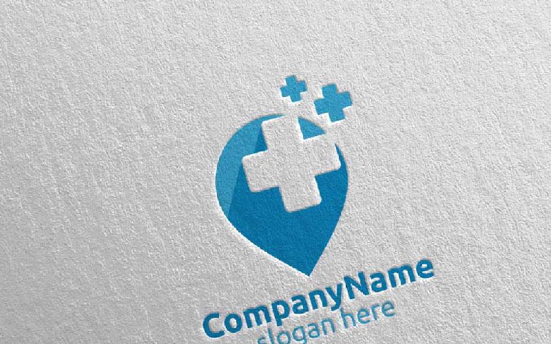 Localizador de pines Cross Medical Hospital 14 Plantilla de logotipo