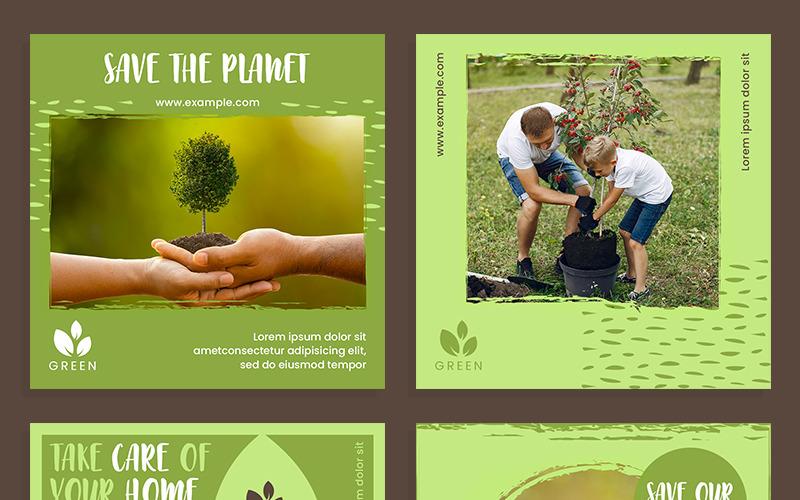 Plantilla de redes sociales de conjunto de diseño de publicación de entorno