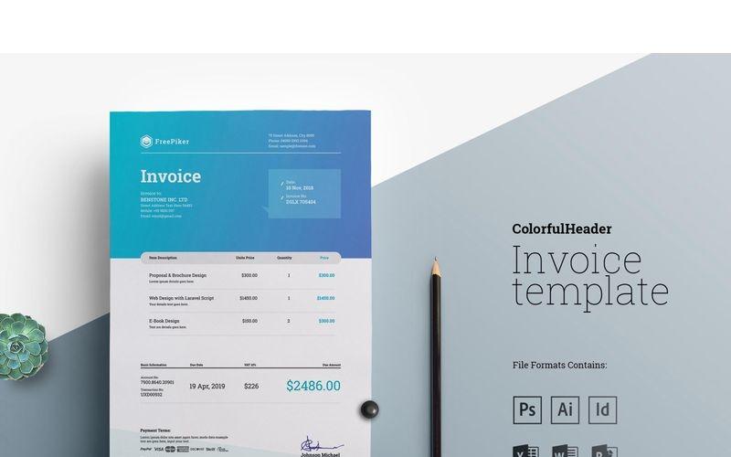Factura de Excel con encabezado colorido - Plantilla de identidad corporativa