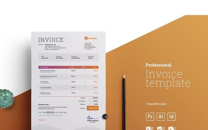 Factura mínima profesional - Plantilla de identidad corporativa