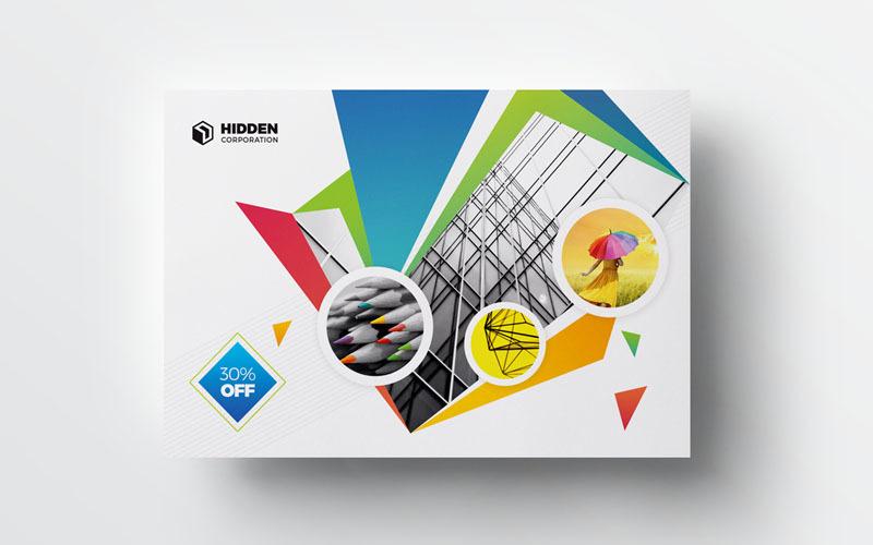 Tarjeta postal de color oscuro - Plantilla de identidad corporativa