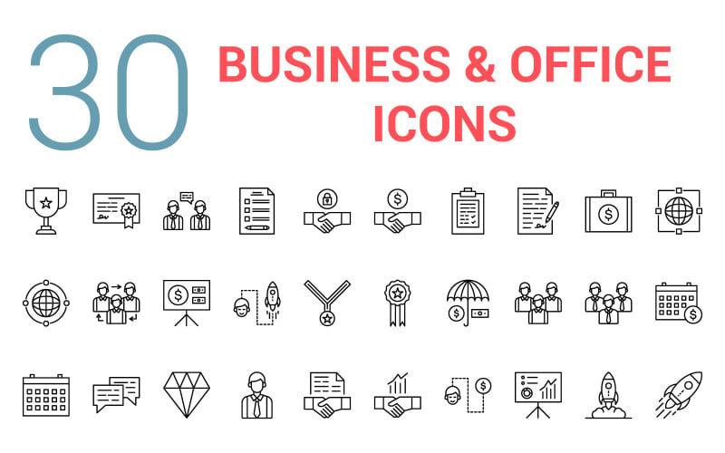 Conjunto de iconos de línea de negocios y oficina