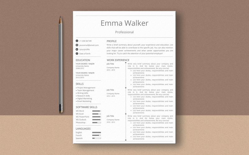 Plantilla de curriculum vitae de Emma Walker MS Word