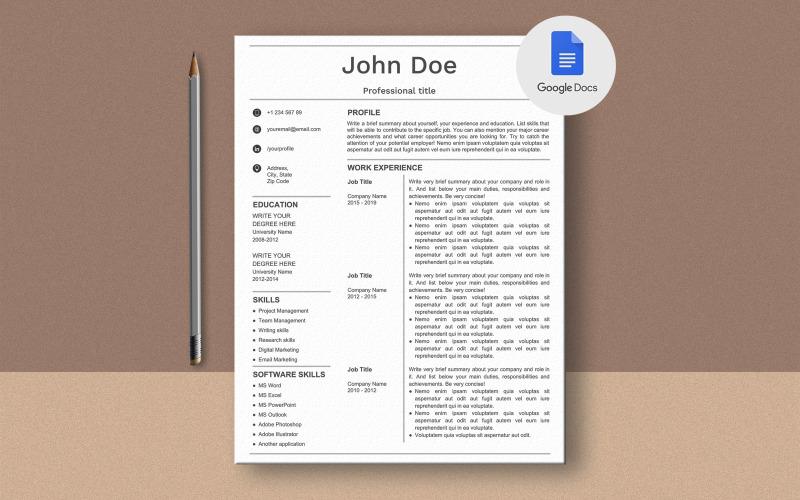 Plantilla de currículum de Google Docs de John Doe