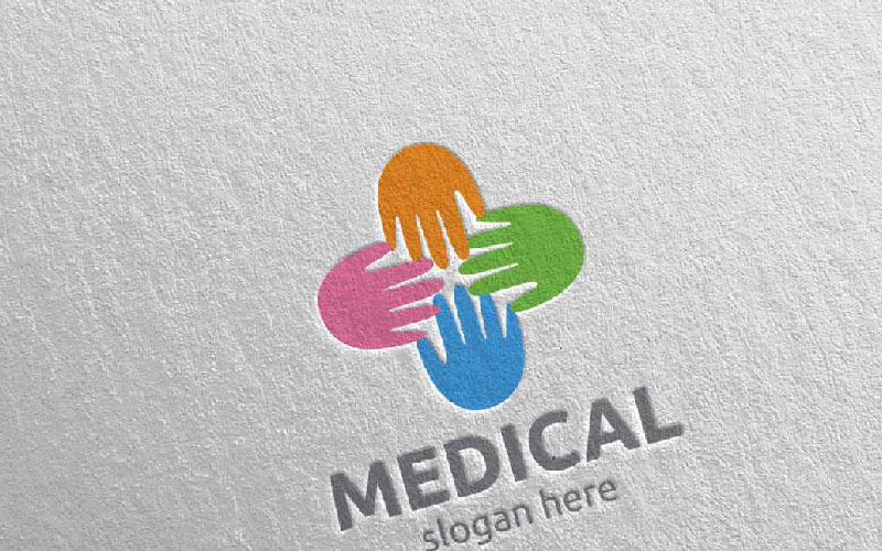 Plantilla de logotipo Hand Cross Medical Hospital 74