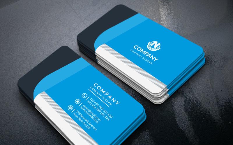 Tarjeta de visita de color azul - Plantilla de identidad corporativa