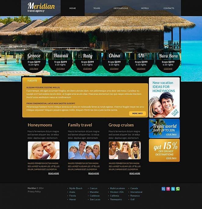 Black Website Template for Travel Agencies