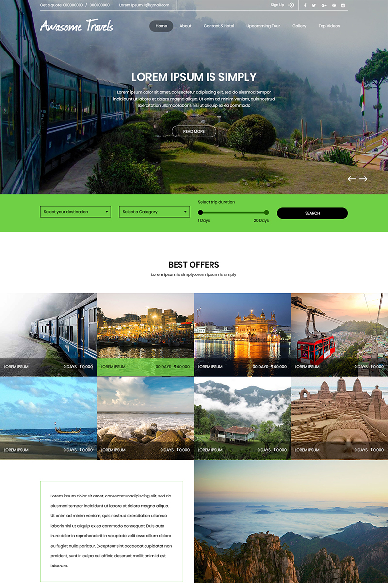 """""""Awasome Travels - Travel Agency"""" PSD Template №80139"""