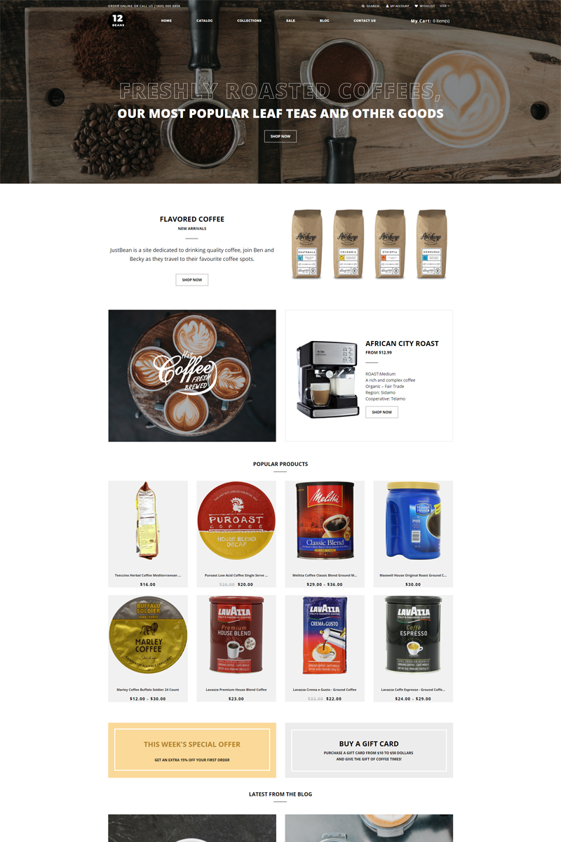 """12 Beans - Coffee Shop Ready-To-Use Clean"" - адаптивний Shopify шаблон №80147"