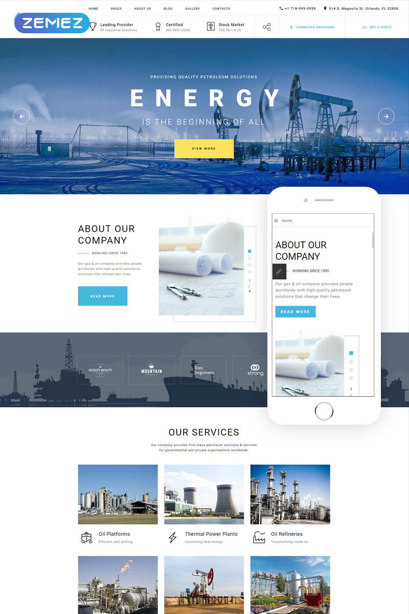 """Blue Energy - Industrial Company Ready-To-Use"" - адаптивний Joomla шаблон №80172"