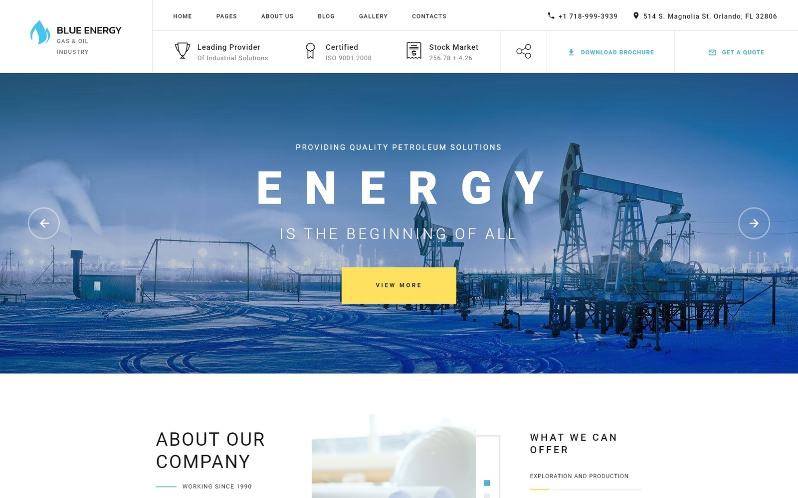 """Blue Energy - Industrial Company Ready-To-Use"" thème Joomla adaptatif #80172"