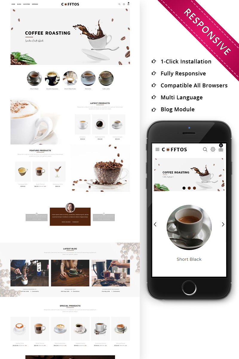 """Cofftos - The Beverage Store"" Bootstrap OpenCart Template №80138"