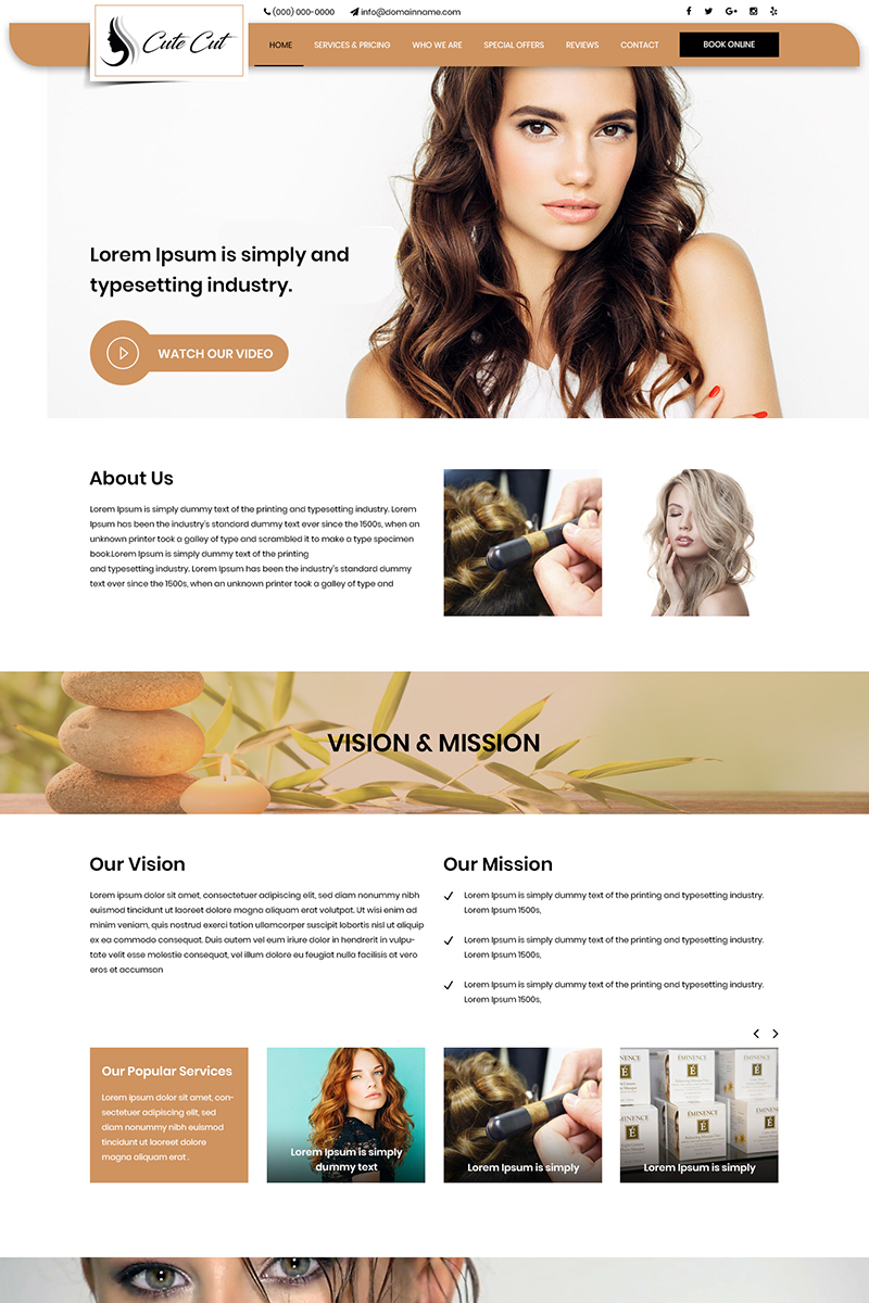 Cute Cut - Hair Saloon And Spa Psd #80182