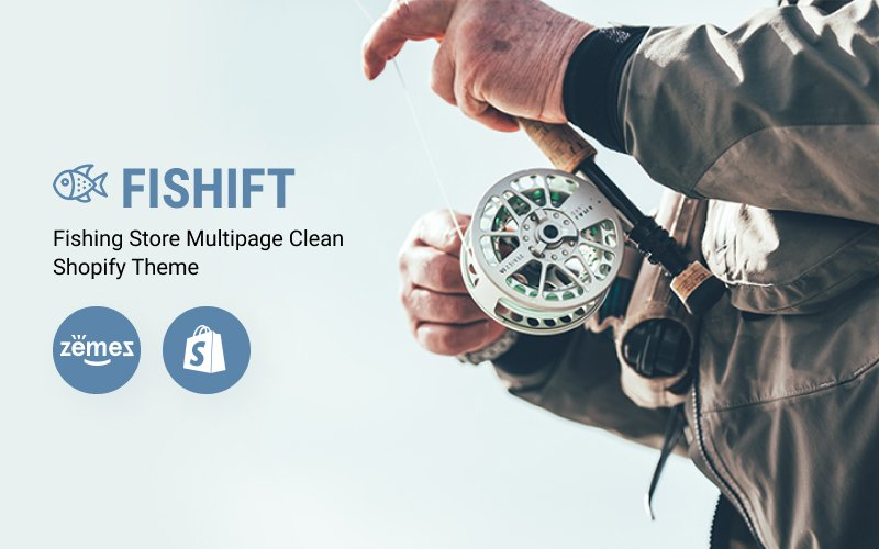 """Fishift - Fishing Store Multipage Clean"" 响应式Shopify模板 #80153"