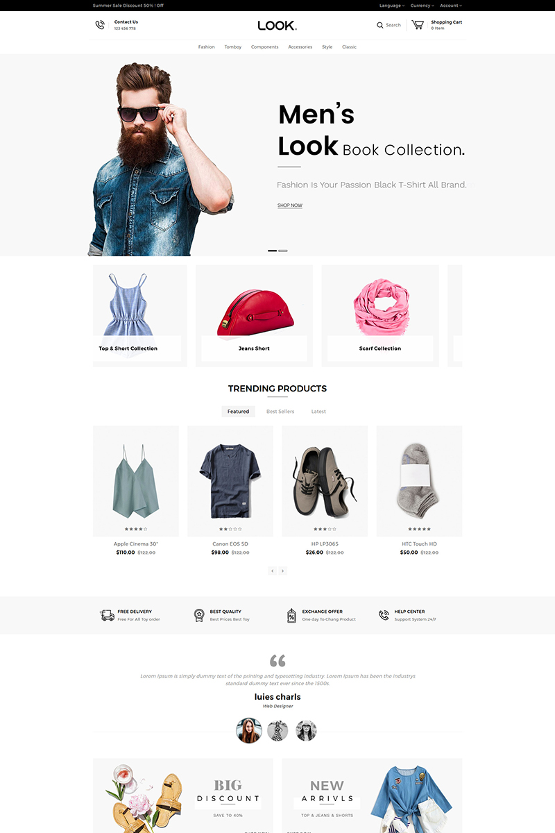 """Look Fashion Responsive"" 响应式OpenCart模板 #80141"