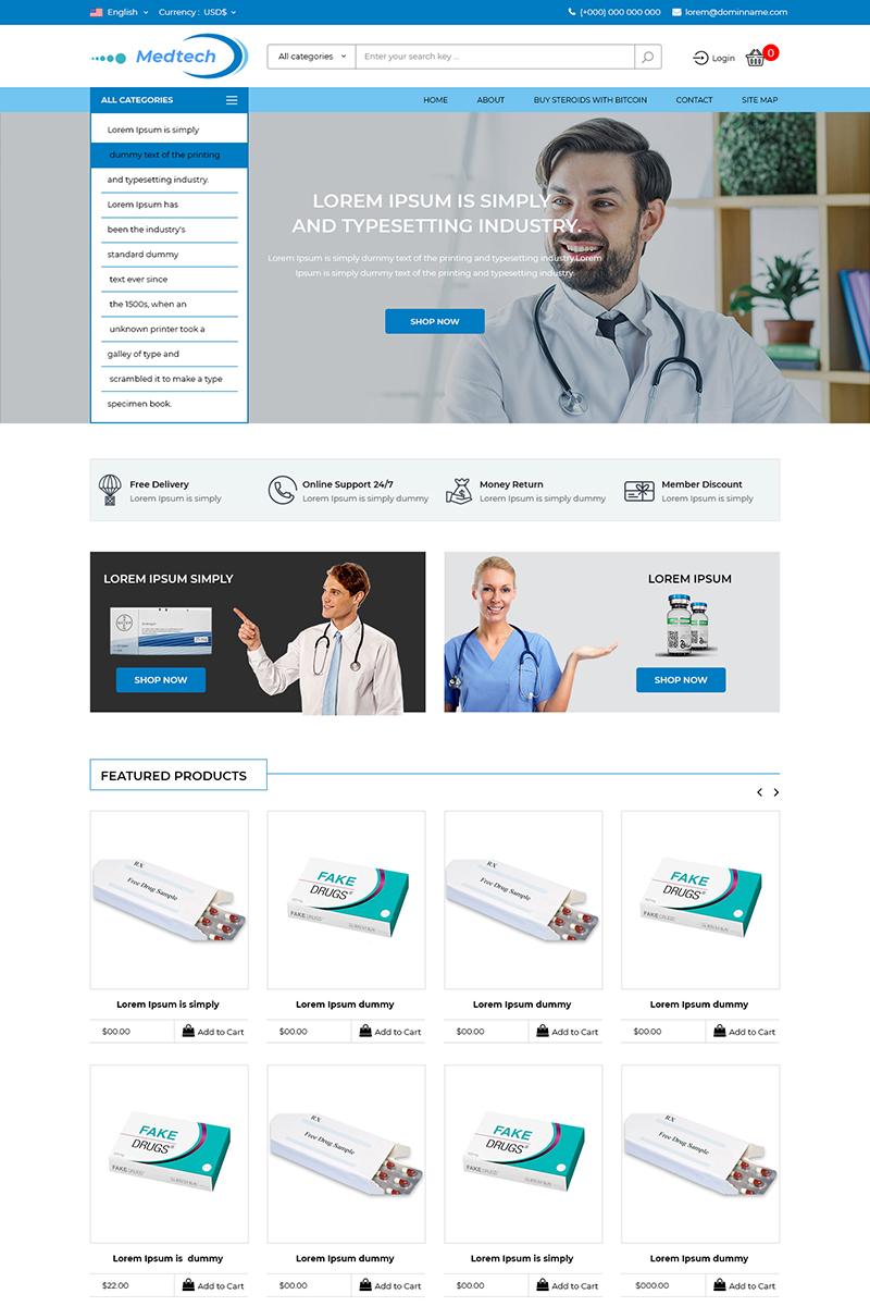 """Medtech - Medicine Store"" - PSD шаблон №80131"