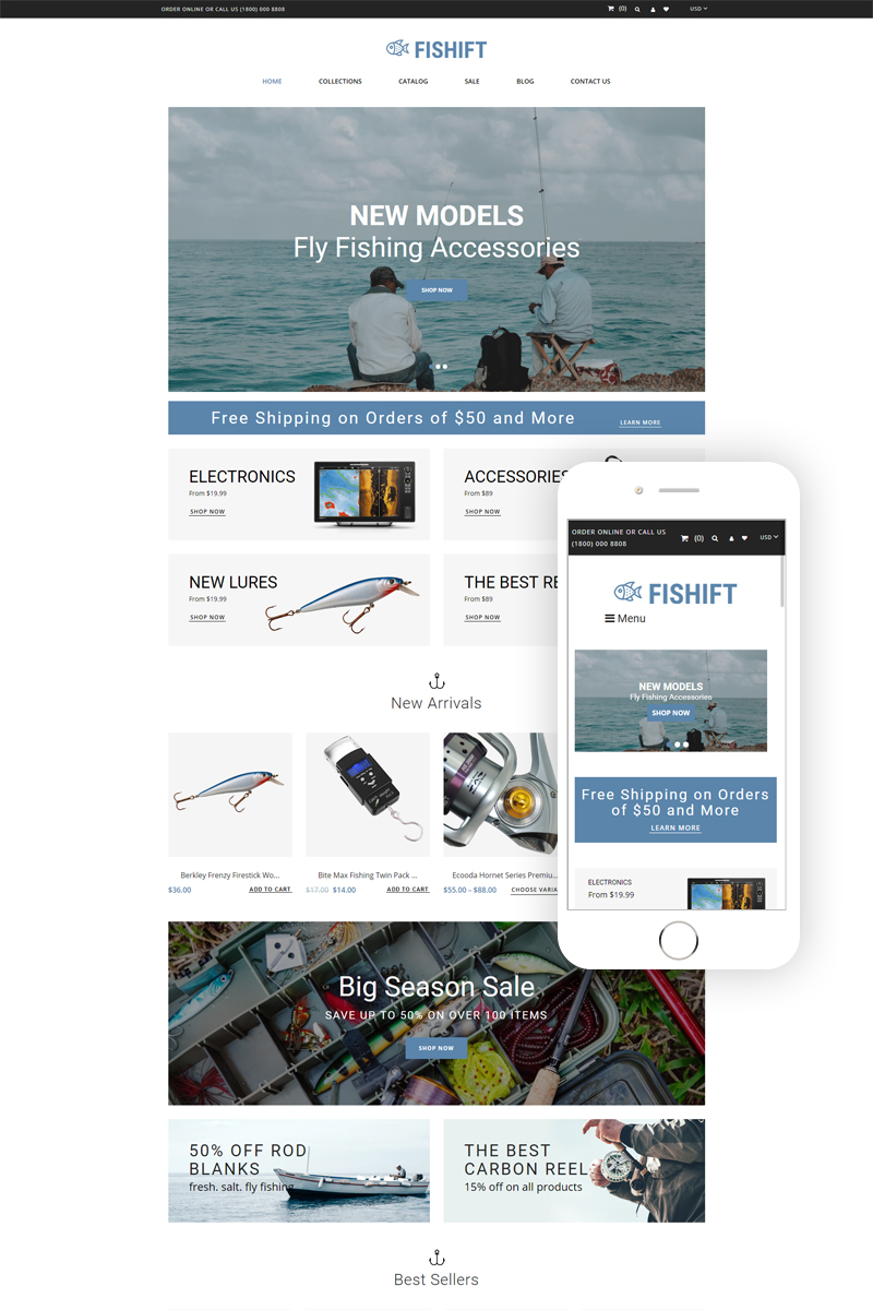 """Modello Shopify Responsive #80153 """"Fishift - Fishing Store Multipage Clean"""""""