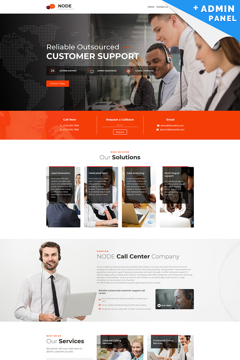 Node - Call Center Landing Page Template