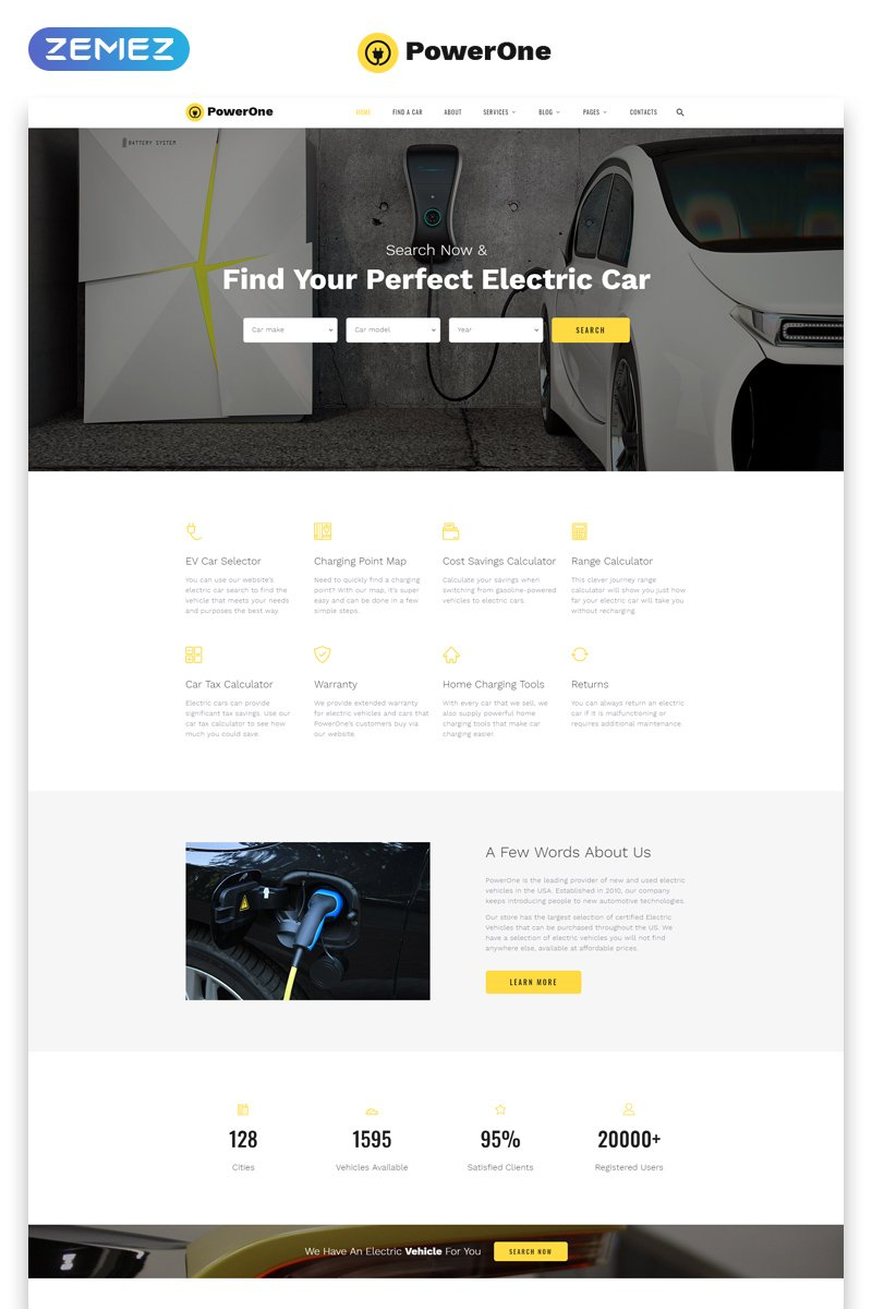 """""""PowerOne - Electric Cars Classic Multipage HTML5"""" 响应式网页模板 #80167 - 截图"""